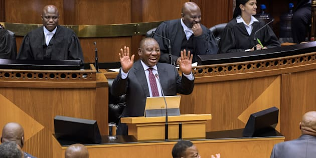 Cyril Ramaphosa, newly sworn-in South African president, addresses Parliament on February 20, 2018.