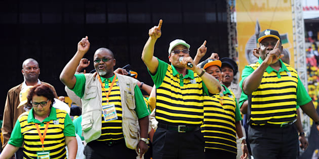 The African National Congress (ANC) top six at the Nelson Mandela Bay stadium on April 16, 2016.