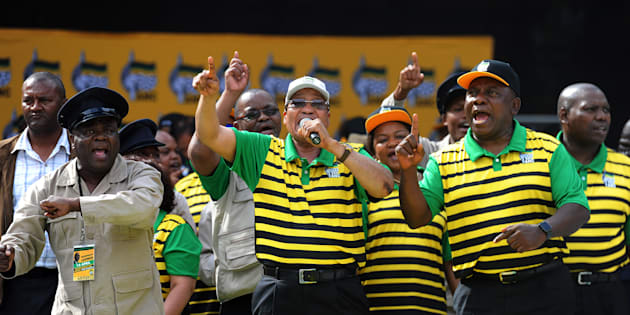 The current African National Congress (ANC) top six share a stage with Solly Moholo during the party's manifesto launch at the Nelson Mandela Bay Stadium on April 16, 2016 in Port Elizabeth.