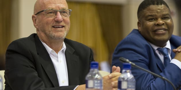 Derek Hanekom (left) , minister of tourism, at an earlier meeting of Cabinet with David Mahlobo, minister of state security.