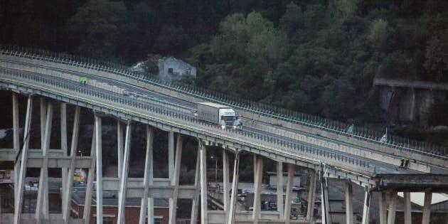 Le pont Morandi effondré à Gênes, le 16 août 2018.