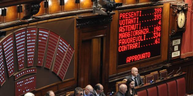 04/05/2015 Roma, Aula della Camera, voto finale sulla Legge Elettorale,nella foto tabellone del con il risultato del voto finale