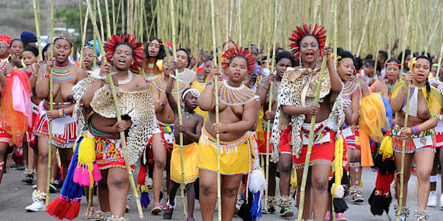 KWANONGOMA, SOUTH AFRICA SEPTEMBER 6: Maidens carrying reeds during the the annual reed dance at eNyokeni Royal Palace on September 6, 2015 in KwaNongoma, South Africa. The reed dance is a colourful and cultural celebration that promotes respect for young women, and preserves the custom of keeping girls as virgins until marriage.
