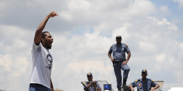 Student activist and former Wits University SRC president Mcebo Dlamini addresses students outside the Palm Ridge Court in Johannesburg on November 9 2016.