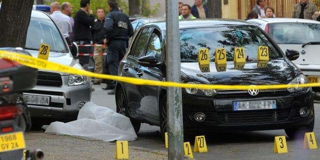 La scène de l'assassinat de Antoine Nivaggioni, tué le 8 octobre 2010.