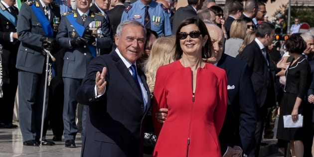 ROME, ITALY - JUNE 02: Pietro Grasso Senate President and Lauro Boldrini, President of the Chamber of Deputies Laura Boldrini attend the military parade during the celebrations of the Italian Republic Day on June 2, 2017 in Rome, Italy. (Photo by Stefano Montesi - Corbis/Corbis via Getty Images)
