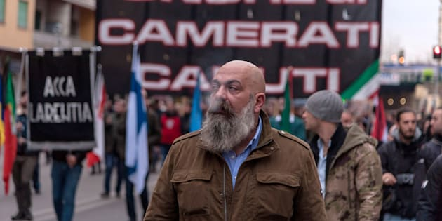 ROME, ITALY - JANUARY 07:  Gianluca Iannone, President of Italian far-right movement Casapound during a march to commemorate the 40th anniversary of The Acca Larentia Massacre in the Tuscolano district on January 7, 2018 in Rome, Italy. On the 7th January 1978, three young activists from the Young Front of the Italian Social Movement (right wing) were killed in front of the headquarters of the Italian Social Movement. (Photo by Stefano Montesi - Corbis/Corbis via Getty Images)