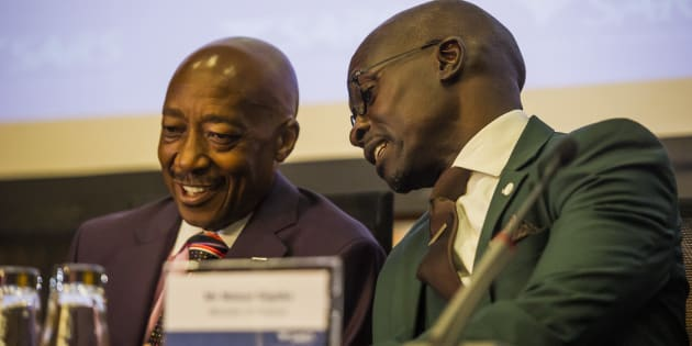 Brothers in arms . . . Tom Moyane (SARS commissioner) and Finance Minister Malusi Gigaba. Moyane and Pravin Gordhan never saw eye-to-eye. Gigaba was appointed minister after Gordhan was fired by President Jacob Zuma.