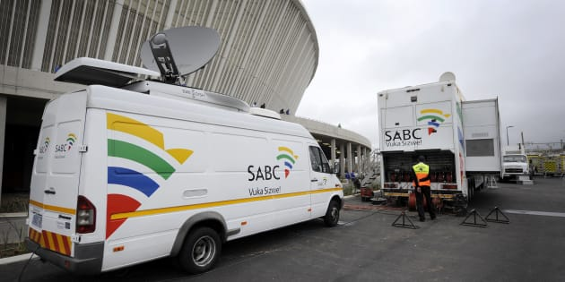 An SABC Satellite truck beaming back Television signals from the Moses Mabhida Stadium in Durban, South Africa, one of the host stadiums for the 2010 FIFA World Cup.