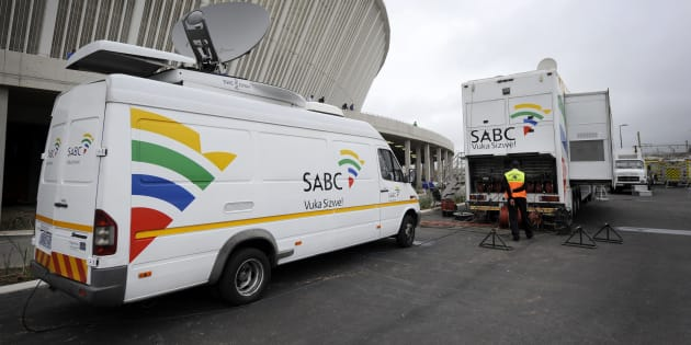 An SABC Satellite truck beaming back Television signals from the Moses Mabhida Stadium in Durban, South Africa.