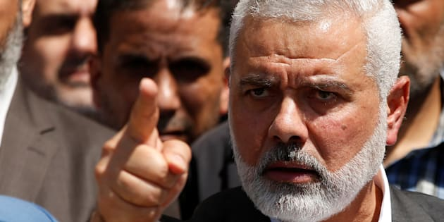 Hamas Chief Ismail Haniyeh gestures during a news conference in Gaza City May 11, 2017. REUTERS/Mohammed Salem