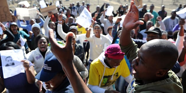 Community protests in support of the family of deceased Thembisile Yende on May 31, 2017 in Springs, South Africa.