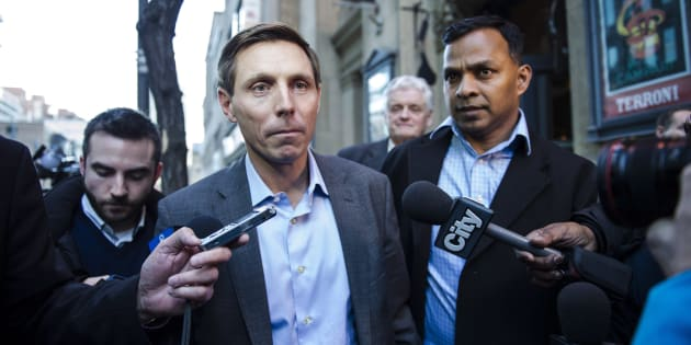 Patrick Brown speaks to media following a meeting at the Conservative Party headquarters in Toronto on Friday, February 16, 2018.