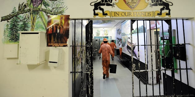 Prison inmates in Pollsmoor remand detention facility.