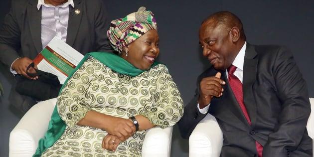 Former Head of the African Union (AU) Dr Nkosazana Dlamini Zuma (L) chats with South African Deputy President Cyril Ramaphosa.