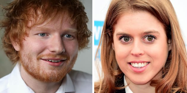 "File photos of Princess Beatrice and Ed Sheeran as the Royal accidentally cut singer Ed Sheeran's face with a sword during a party prank which involved her pretending to ""knight"" James Blunt, according to reports."