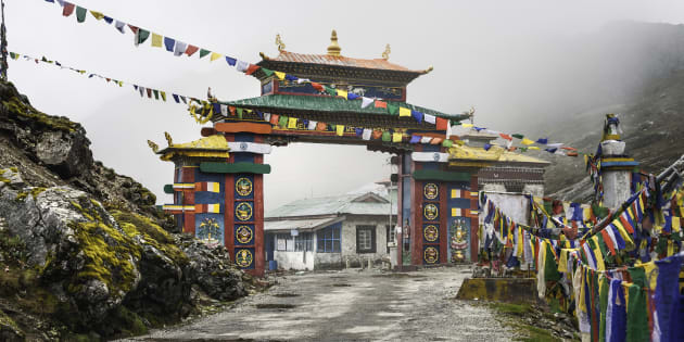 The Buddhist gateway into Tawang on Highway 229.