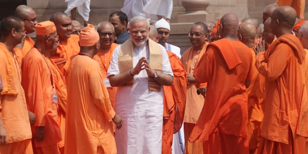 A file photo of Prime Minister Narendra Modi during his visit to Belur Math. The Prime Minister sat near the slippers of Swami Vivekananda to meditate in the 19th century philosopher-saint's room at the math for around 15 minutes.