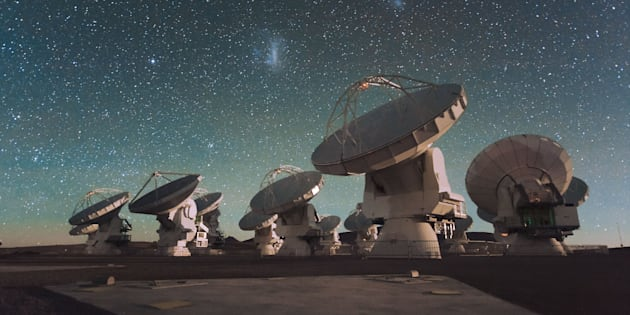Antennas of the European Southern Observatory's Atacama Large Millimeter/submillimeter Array ALMA facility on the Chajnantor Plateau in the Chilean Andes.