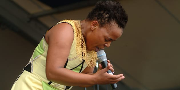 Rebecca Malope performs at the New Orleans Jazz Festival in the US.