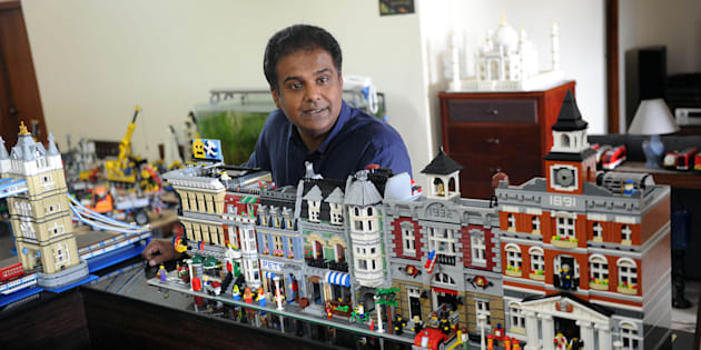 John Seemon with some of his Lego models.