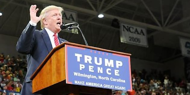 WILMINGTON, NC - AUGUST 9:  Republican presidential candidate Donald Trump speaks at a campaign event at Trask Coliseum on August 9, 2016 in Wilmington, North Carolina. This was Trump's first visit to southeastern North Carolina since he entered the presidential race.  (Photo by Sara D. Davis/Getty Images)