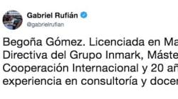 Gabriel Rufián se pronuncia sobre el puesto de la mujer de Pedro