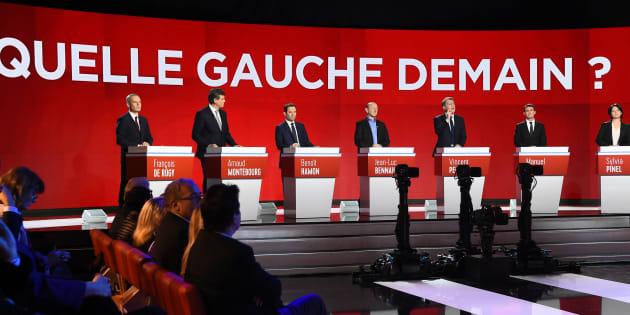 Les candidats à la primaire de la Belle Alliance Populaire, lors du débat télévisé du 15 janvier 2017.