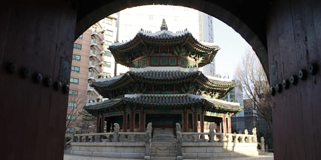 Historic architecture in the courtyard of the Westin in Seoul