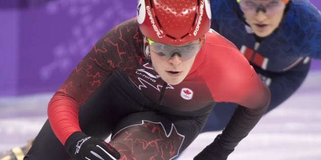 Canada's Kim Boutin competes in the women's 500-metre short-track speedskating semifinal at the Pyeonchang Winter Olympics on Feb. 13, 2018 in Gangneung, South Korea.