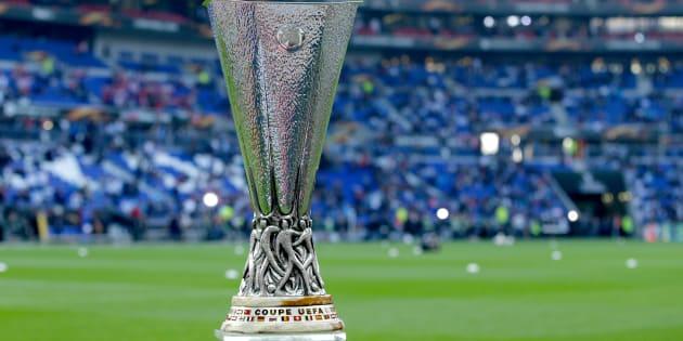 Le trophée de l'Europa League à Lyon avant la finale Atlético Madrid-OM le 16 mai 2018.