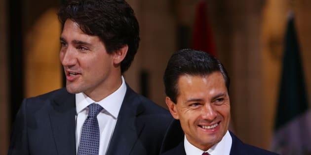 Le premier ministre canadien Justin Trudeau en compagnie du président mexicain Enrique Peña Nieto