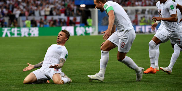 Kieran Trippier célébrant son but contre la Croatie à Moscou le 11 juillet 2018.