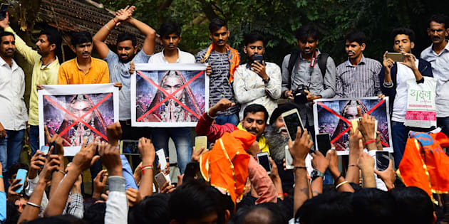 Rajput Karni Sena workers protesting outside the Central Board of Film Certification (CBFC) office in connection with the release of film Padmavat at Peddar Road, on January 12, 2018, in Mumbai.