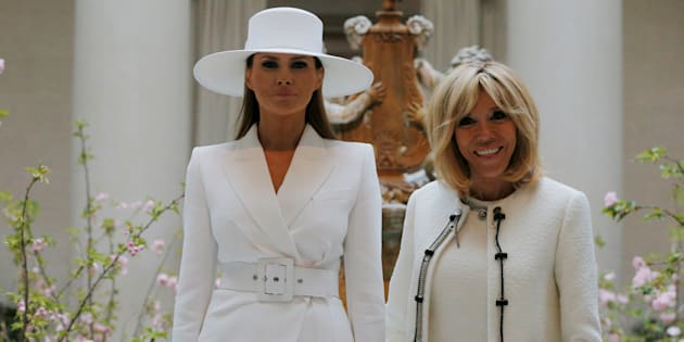 United States first lady Melania Trump and her French counterpart Brigitte Macron visit the National Gallery of Art in Washington, U.S., April 24, 2018.   REUTERS/Brian Snyder