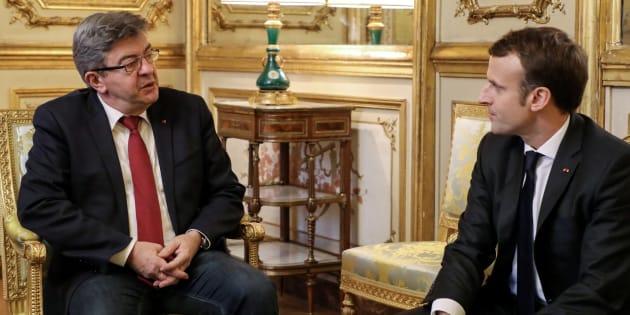 Jean-Luc Mélenchon face à Emmanuel Macron lors d'une rencontre à l'Elysée.