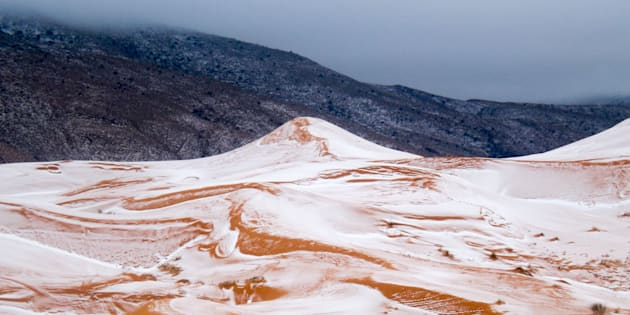 Snow in the Sahara Desert near the town of Ain Sefra, Algeria Snow in the Sahara Desert, Ain Sefra.