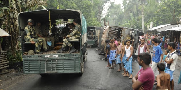 Heavy Police and Paramilitary deployment in Baduria after protests over an objectionable social media post on July 5, 2017 in North 24 Parganas, India.
