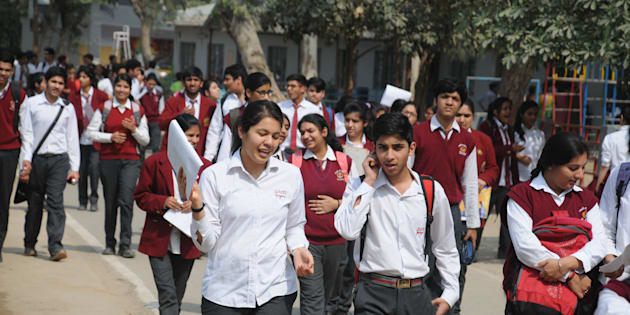 Students coming out after appearing in the first English paper of the class XII CBSE examinations in Gurgaon.