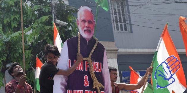 A protest against Narendra Modi in Kolkata.