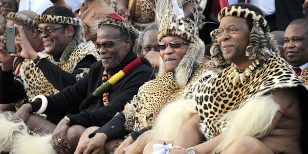 Winnie Prince Mangosuthu Buthelezi and President Jacob Zuma with Zulu King Goodwill during his wedding at Ondini Sports Complex on July 26, 2014, in Ulundi, South Africa.