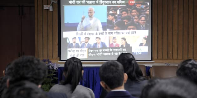 NOIDA, INDIA - FEBRUARY 16: Prime minister Narendra Modi interaction (pariksha par charcha) with students over exam stress, on February 16, 2018 in Noida, India. (Photo by Sunil Ghosh/Hindustan Times)