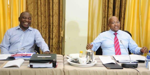 Deputy President Cyril Ramaphosa and President Jacob Zuma before the start of the cabinet lekgotla.