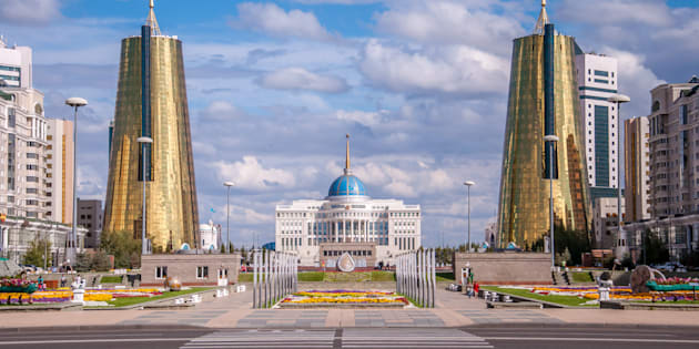 ASTANA, KAZAKHSTAN REPUBLIC - 2012: View of the Nurzhol Boulevard and President's Palace Acorda