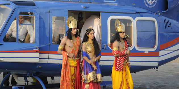 Uttar Pradesh CM Yogi Adityanath welcomes Artistes dressed up as Lord Rama, Sita and Lakshman who arrived by a chopper for Deepotsav celebrations.