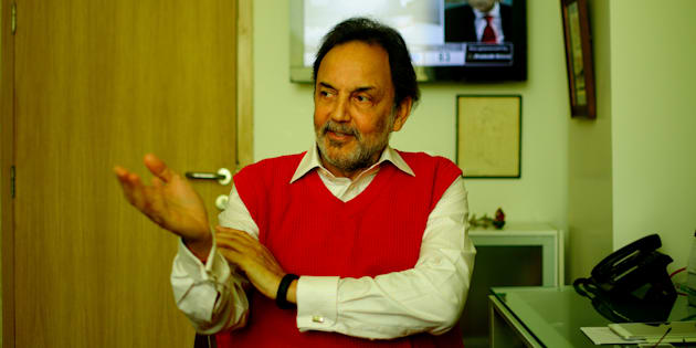 Prannoy Roy, Co-founder and Executive Co-Chairperson of New Delhi Television (NDTV), poses for a profile shoot during an interview at his office on March 14, 2014 in New Delhi, India. (Photo by Pradeep Gaur/Mint via Getty Images)