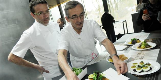Sébastien Bras ( à gauche) et son père Michel Bras en 2014.