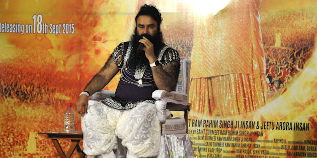Head of Dera Sacha Sauda sect Gurmeet Ram Rahim Singh addressing the media during the premiere of his movie MSG-2.
