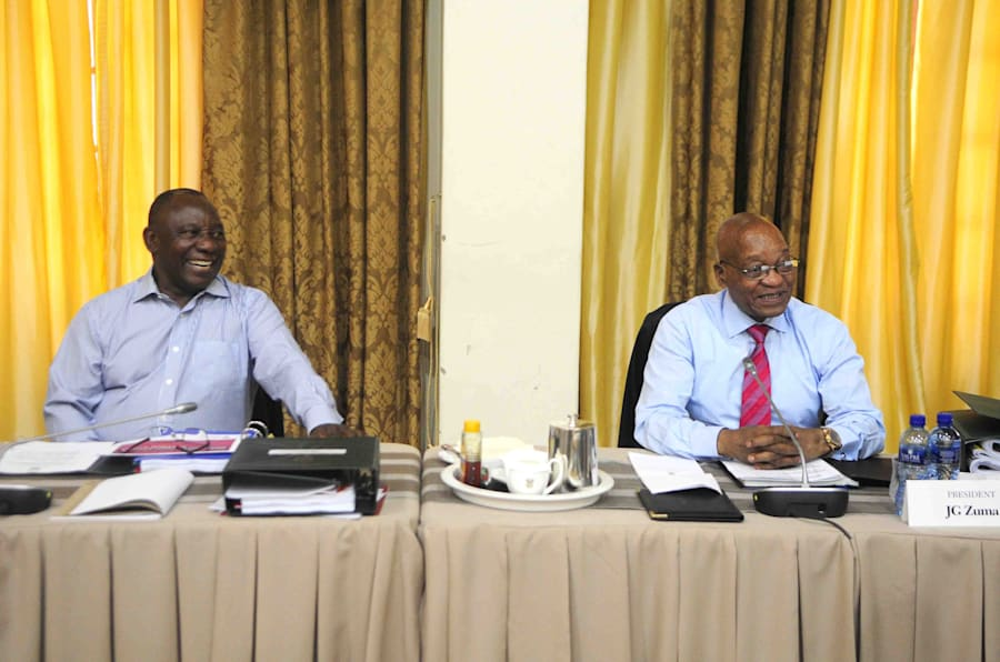 Vibes . . . Deputy President Cyril Rampahosa and President Jacob Zuma at last week's Cabinet lekgotla.
