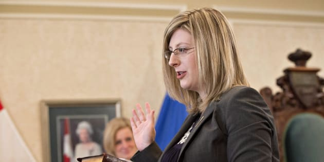 Stephanie McLean is sworn in as a new cabinet minister in Edmonton on Feb. 2, 2016.